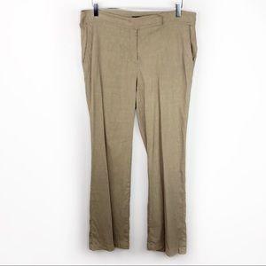 Eileen Fisher Linen Loose Trouser Pant Tan Khaki